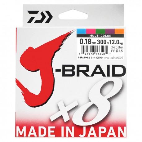 Daiwa J-Braid X8 Multifilar Multicolor 300m-0.18mm/12.0kg