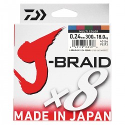 Daiwa J-Braid X8 Multicolor 300m-0.24mm/18kg
