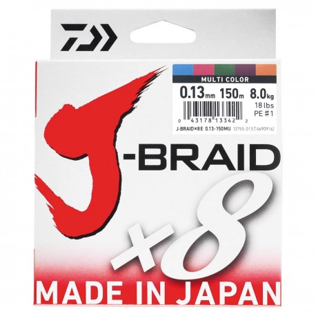Daiwa J-Braid X8 Multifilar Multicolor 150m-0.13mm/8kg