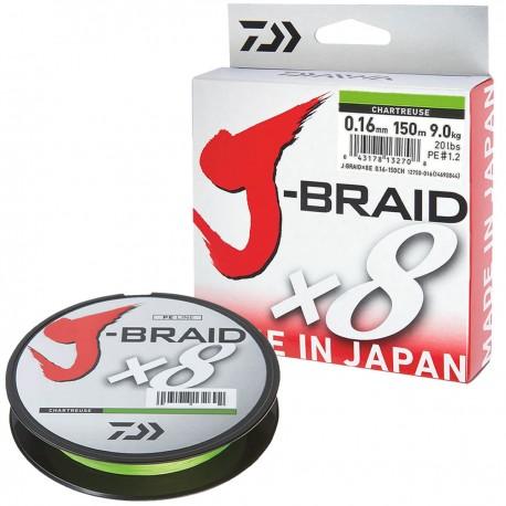 Daiwa J-Braid X8 Chartreuse 150m-0.16mm/9kg