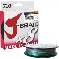 Daiwa J-Braid X8 Multicolor 500m-0.35mm/36kg