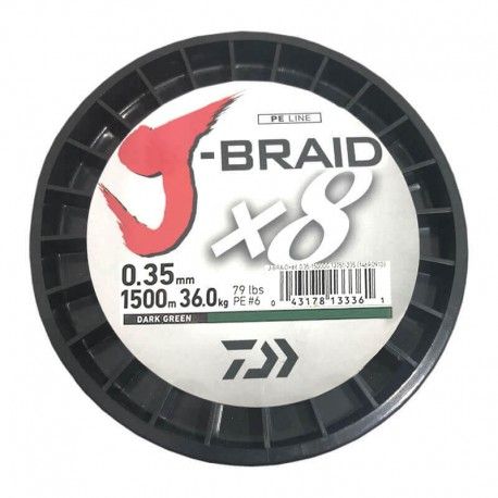 Daiwa J-Braid X8 Dark Green 1500m-0.35mm/36kg