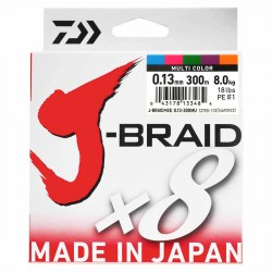 Daiwa J-Braid X8 Multicolor 300M-0.13mm/8kg