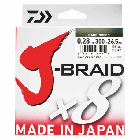 Daiwa J-Braid X8 Multifilar Dark Green 300M-0.28mm/26,5kg