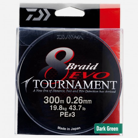 Daiwa 8 Braid EVO Tournament Dark Green - 300m - 0.26mm PE 3