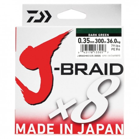 Daiwa J-Braid X8 Multifilar Dark Green 300M-0.35mm/36kg