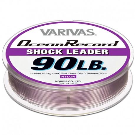 Varivas Ocean Record Shock Leader 50m 90lb (22-0.78mm) Misty Purple